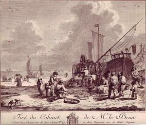 Visverkoping op het strand