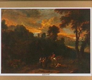 Bergachtig landschap met zigeuners, reizigers en een herder met zijn vee