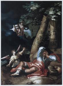 De droom van Jacob te Betel:: engelen dalen naar de aarde af uit de hemel en omgekeerd langs een ladder (Genesis 28:10-22)