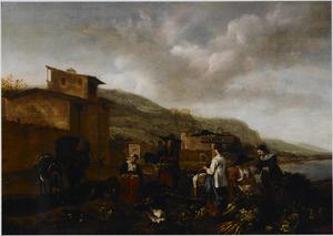 Zuidelijk landschap met marktvrouwen buiten een stad