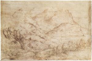 Alpenlandschap met meer, kerk en herten