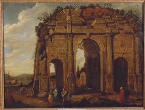 Een fantasiegezicht op de Boog van Constantijn te Rome met elegant gezelschap