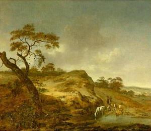 Duinlandschap met vee en herders bij een water