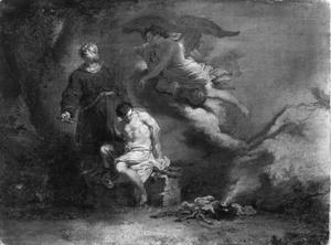 Een engel weerhoudt Abraham om Isaak te offeren (Genesis 22:11)