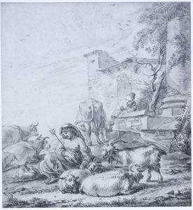 Twee herderinnen met vee bij een fontein