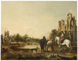 Ruïne van kasteel Rossum, gezien vanuit het noordoosten, met vermoedelijk het portret van Frederik Hendrik van Randwijck (1625-1697)