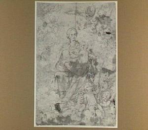 Maria met het Christuskind, door engelen omringd