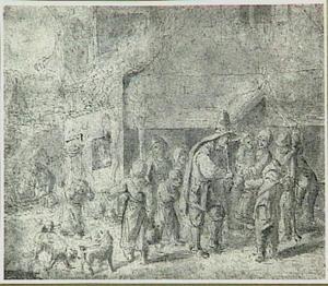 Doedelzakspeler met omstanders in een dorpstraat