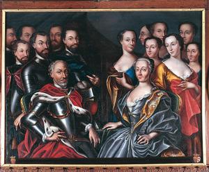 Groepsportret van Johan van Isendoorn à Blois (....-1558), Margriet van Rossem (....-1558) en familieleden