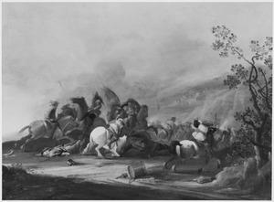 Heuvellandschap met ruitergevecht