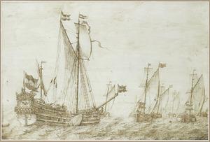 Statenjacht 'Valck' en wijdschepen op zee bij een kust