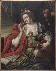 De vijf zintuigen: jonge vrouw die bloemen ruikt, allegorie op de Reuk