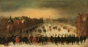 Wintergezicht op de Vijverberg te Den Haag met prins Maurits (1567-1625) en zijn gevolg