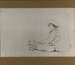 Studie van een zittende man, naar links