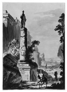 Italiaanse capriccio met klassieke gebouwen en standbeeld op zuil