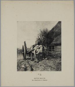 Ossenkar met boer bij schuur