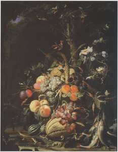 Bosstilleven met vruchten, vissen en een vogelnest