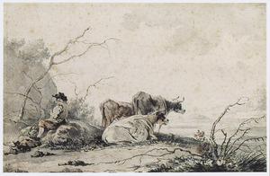 Landschap met rustende herder en koeien