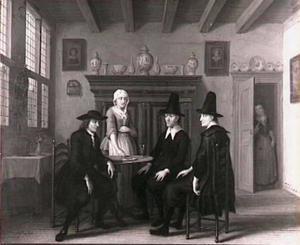 Scène uit de comedie Jan Klaasz. of de gewaande dienstmaagd van Th. Asselijn: het huwelijksaanzoek