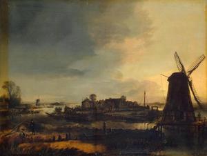 Rivierlandschap met molen bij avond