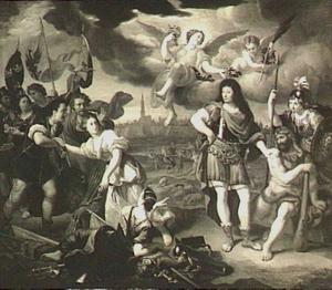 Allegorie op de Vrede van Nijmegen (1678): de Overwinning, Hercules en Minerva, de Overvloed zenden de Genade naar het keizerlijke leger