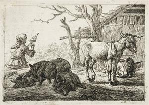 Ezels en zwijnen bij een stal en spinnende boerin