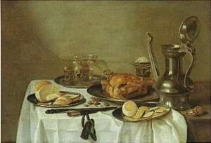 Stilleven met roemers, Jan Steen-kan, geschilde citroen en gebraden gevogelte