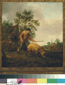 Boer met een zwijn