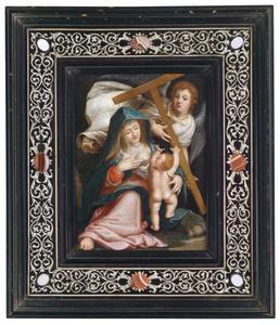 De Madonna met het kind alsmede een engel met het kruis