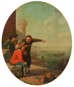 Vier mannen bij een zeehaven