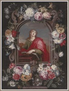 De H. Johannes de Evangelist in een gebeeldhouwde cartouche met bloemen