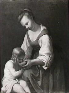 Jonge vrouw, die een kind te drinken geeft