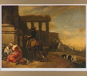 Zuidelijk landschap met een slapende vrouw en een man op een ezel bij een romeinse ruïne