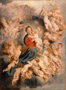 Maria met kind omgeven door een engelenschaar