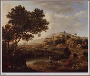 Zuidelijk landschap met herderin en slapende herdersjongen