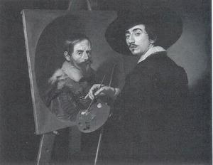 Zelfportret, werkend aan een portret van zijn mecenas Vincenzo Giustiani