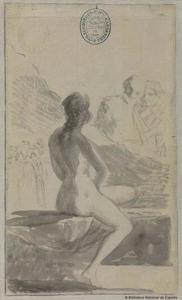 Een jonge vrouw, badend in een fontein