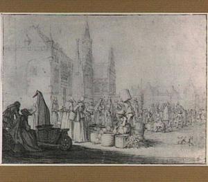 Haarlem, de Markt; op de achtergrond het stadhuis
