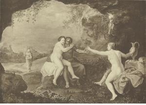 Landschap met Lots dochters die hun vader drunken maken; op de achtergrond de ondergang van Sodom en Gomorra; Lots vrouw is veranderd in een zoutpilaar (Genesis 19:21-34)