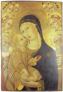 Maria en kind met de HH. Hiëronymus en Bernardinus van Siëna en zes engelen