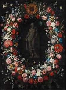 Bloemenkrans rond een beeld van Ceres