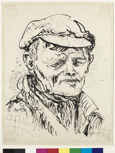 Portret van een boermet een loensend oog