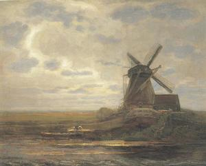 Oostzijdse mill with panoramic sunset, mill at right