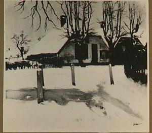 Boerderij in de sneeuw, mogelijk te Ede