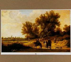 Landschap met ruiters en andere figuren op een zandweg