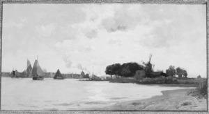 Rivierlandschap met aan de horizon Dordrecht