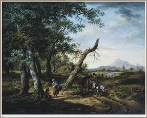 Heuvellandschap met een paardenkar op en landweg aan een bosrand
