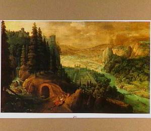 Een woest berglandschap met Venus en Adonis rustend aan de kant van de weg; in het dal op de achtergrond een  paleis met een grote formele tuin