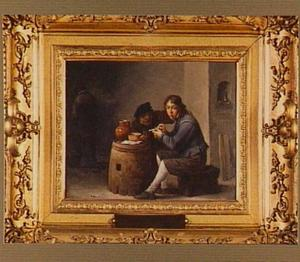 Interieur van een herberg met drie figuren