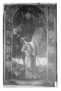Het Laatste Oordeel met Maria als Middelares; in de marges  de Werken van Barmhartigheid
